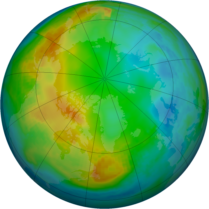Arctic ozone map for 01 December 1986